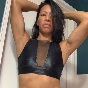 Mika Yogawear black mesh top, small